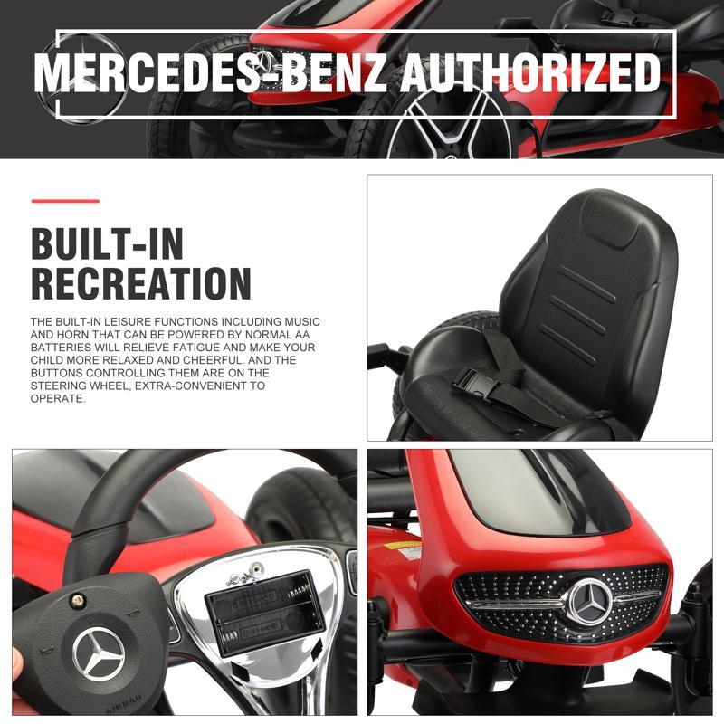 Mercedes Benz Kids Go Kart Ride On Car For Children, Red mercedes benz go kart for kids 4 wheel powered red 27 1