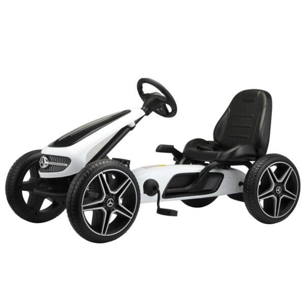Mercedes Benz Kids Go Kart Ride On Car For Children, White mercedes benz go kart for kids 4 wheel powered white 1