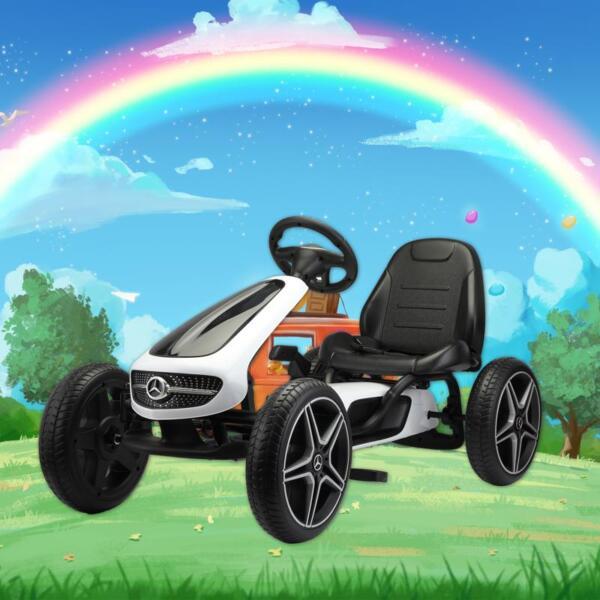 Mercedes Benz Kids Go Kart Ride On Car For Children, White mercedes benz go kart for kids 4 wheel powered white 12
