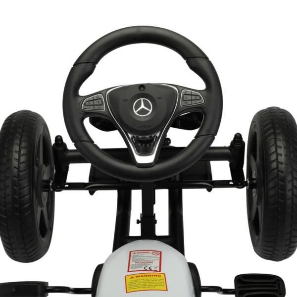 Mercedes Benz Kids Go Kart Ride On Car For Children, White mercedes benz go kart for kids 4 wheel powered white 13