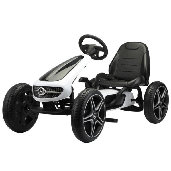 Mercedes Benz Kids Go Kart Ride On Car For Children, White mercedes benz go kart for kids 4 wheel powered white 2