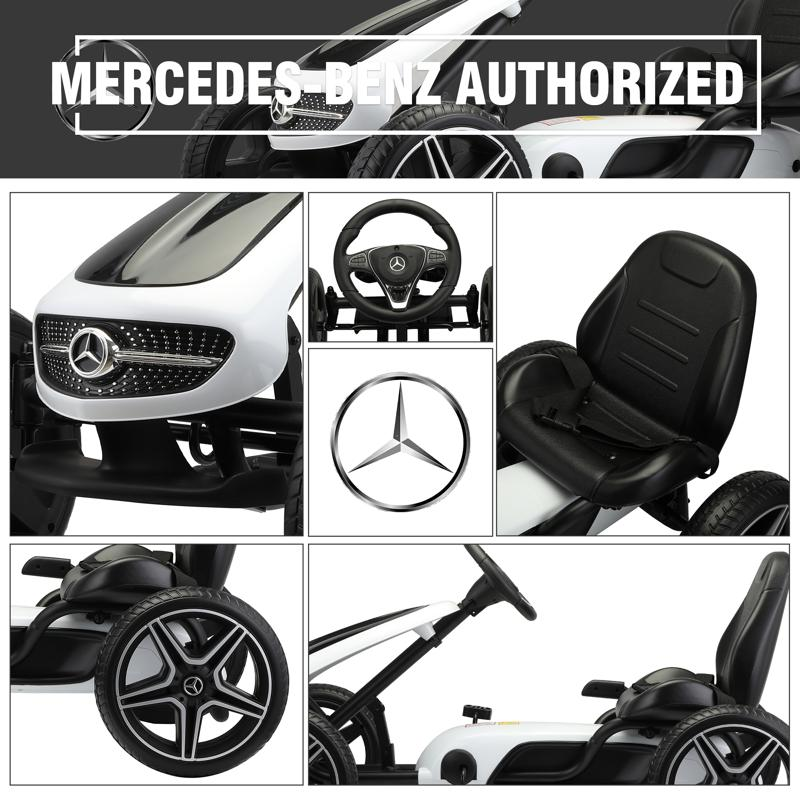 Mercedes Benz Kids Go Kart Ride On Car For Children, Black mercedes benz go kart for kids 4 wheel powered white 24 2