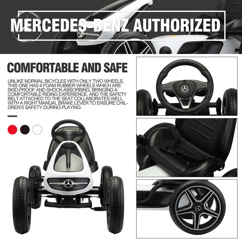 Mercedes Benz Kids Go Kart Ride On Car For Children, Black mercedes benz go kart for kids 4 wheel powered white 25 2