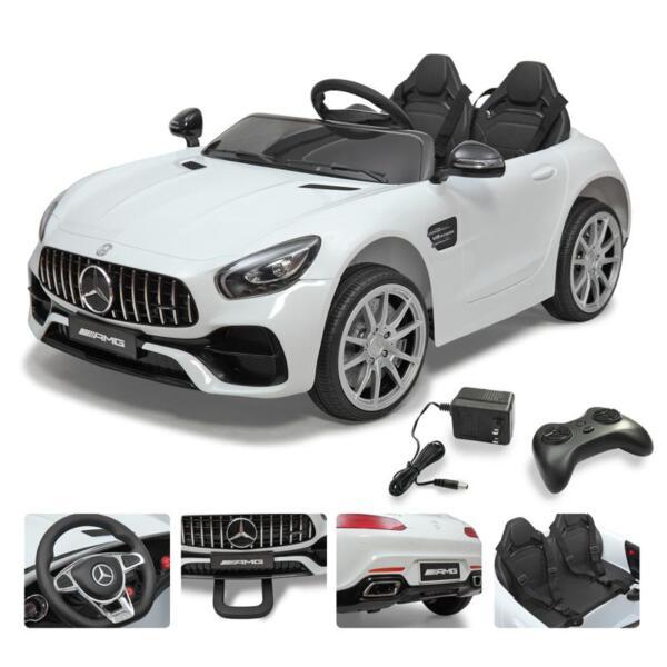 12V Mercedes Benz 2 Seater Kids Ride On Car With Remote Control, White mercedes benz licensed 12v kids electric ride on car with 2 seater red 16 2