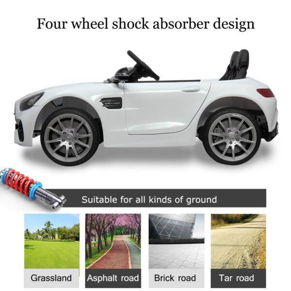 12V Mercedes Benz 2 Seater Kids Ride On Car With Remote Control, White mercedes benz licensed 12v kids electric ride on car with 2 seater red 17 1