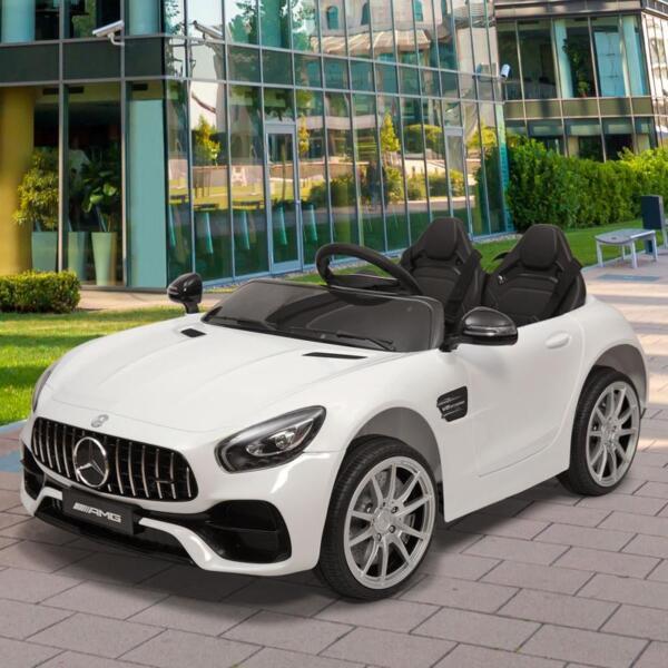 12V Mercedes Benz 2 Seater Kids Ride On Car With Remote Control, White mercedes benz licensed 12v kids electric ride on car with 2 seater red 19
