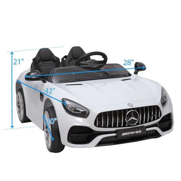 12V Mercedes Benz 2 Seater Kids Ride On Car With Remote Control, White mercedes benz licensed 12v kids electric ride on car with 2 seater red 24 1