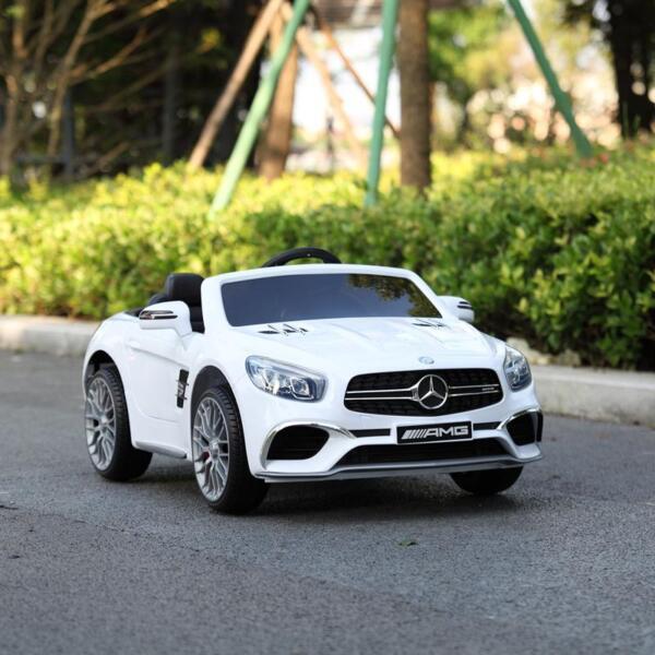 12V Mercedes Benz 2 Seater Kids Power Wheels With Remote, White mercedes benz licensed 12v kids ride on car white 11