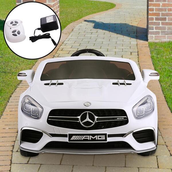 12V Mercedes Benz 2 Seater Kids Power Wheels With Remote, White mercedes benz licensed 12v kids ride on car white 12