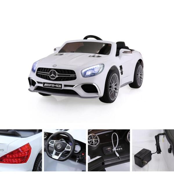 12V Mercedes Benz 2 Seater Kids Power Wheels With Remote, White mercedes benz licensed 12v kids ride on car white 13 2