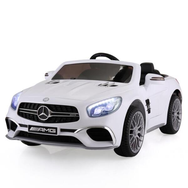 12V Mercedes Benz 2 Seater Kids Power Wheels With Remote, White mercedes benz licensed 12v kids ride on car white 4