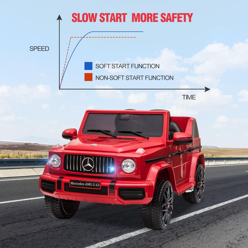 12V Mercedes Benz Ride on Car with Remote Control, Red mercedes benz licensed amg g63 12v kids ride on cars red 32 1