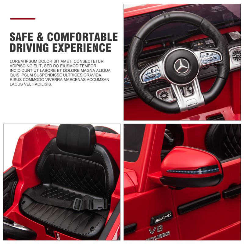 12V Mercedes Benz Ride on Car with Remote Control, Red mercedes benz licensed amg g63 12v kids ride on cars red 33 3