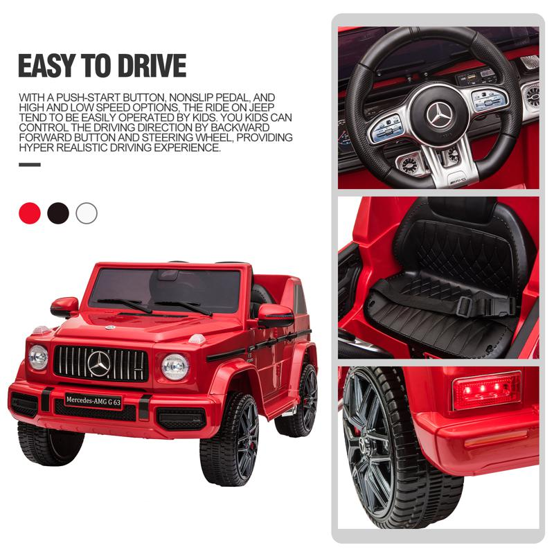 12V Mercedes Benz Ride on Car with Remote Control, Red mercedes benz licensed amg g63 12v kids ride on cars red 35 3