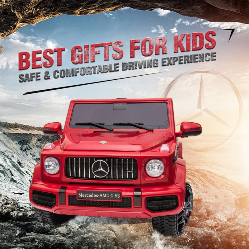 12V Mercedes Benz Ride on Car with Remote Control, Red mercedes benz licensed amg g63 12v kids ride on cars red 38 2