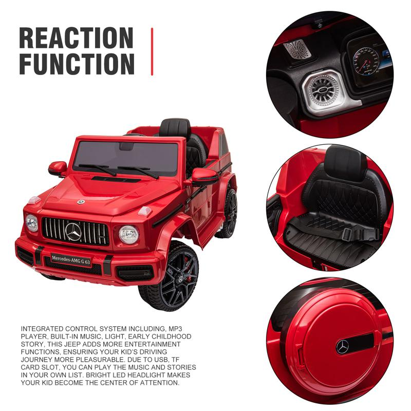 12V Mercedes Benz Ride on Car with Remote Control, Red mercedes benz licensed amg g63 12v kids ride on cars red 39 1