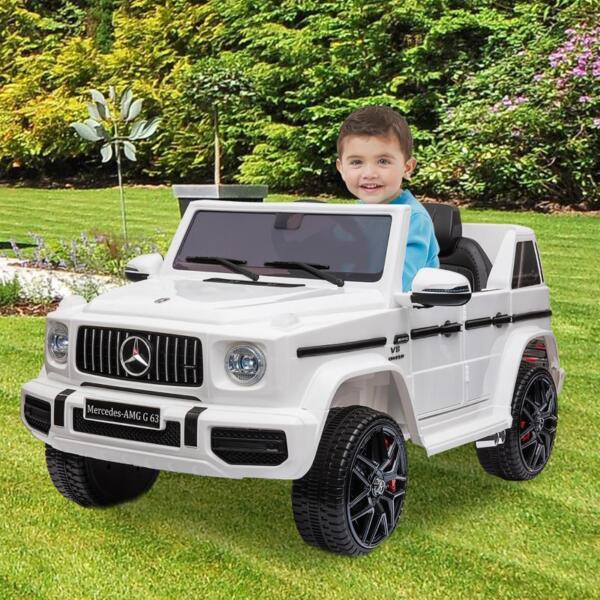 Mercedes-Benz Licensed AMG G63 12V Kids Ride On Cars, White mercedes benz licensed amg g63 12v kids ride on cars white 13
