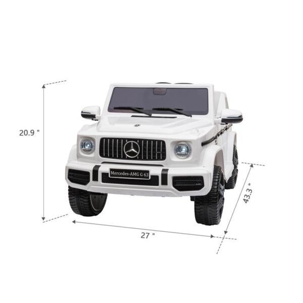 Mercedes-Benz Licensed AMG G63 12V Kids Ride On Cars, White mercedes benz licensed amg g63 12v kids ride on cars white 15