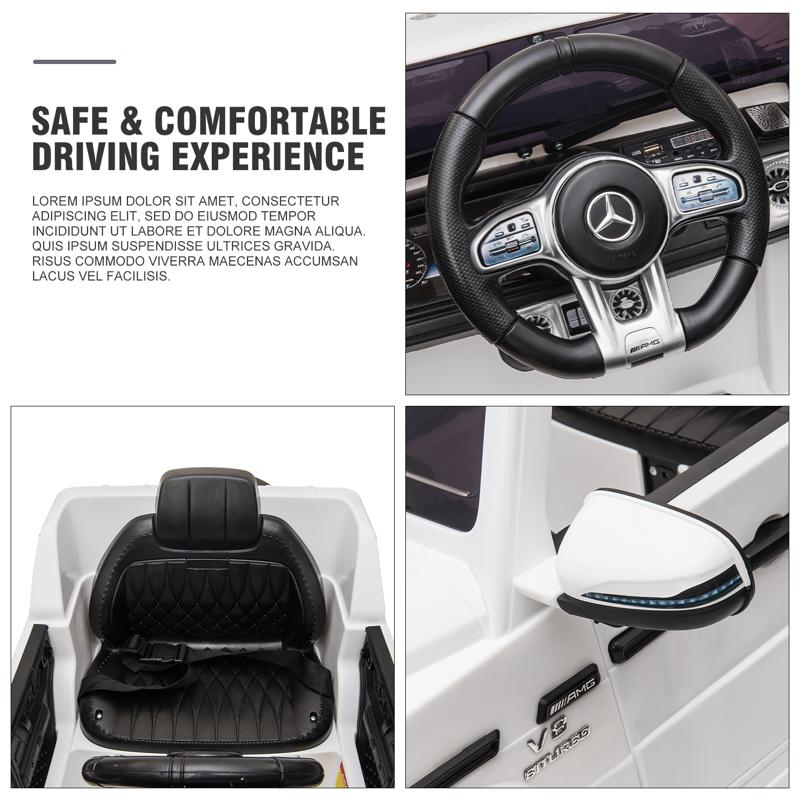 12V Mercedes Benz Ride on Car with Remote Control, White mercedes benz licensed amg g63 12v kids ride on cars white 32 2