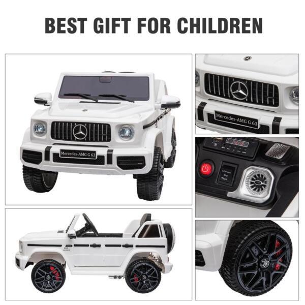 Mercedes-Benz Licensed AMG G63 12V Kids Ride On Cars, White mercedes benz licensed amg g63 12v kids ride on cars white 33