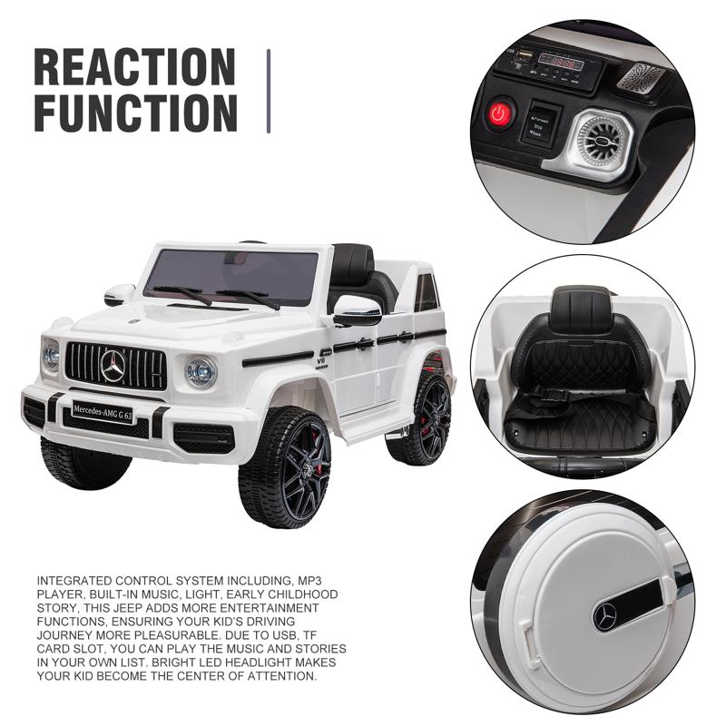 12V Mercedes Benz Ride on Car with Remote Control, White mercedes benz licensed amg g63 12v kids ride on cars white 34 1
