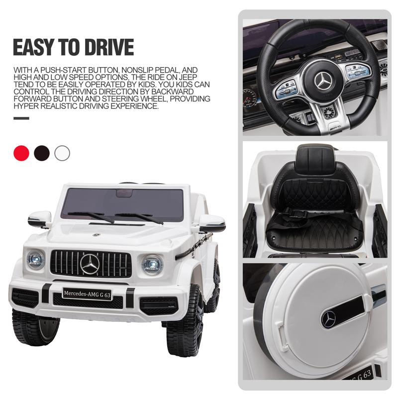 12V Mercedes Benz Ride on Car with Remote Control, White mercedes benz licensed amg g63 12v kids ride on cars white 35 2