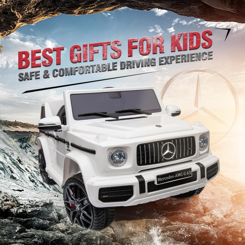 12V Mercedes Benz Ride on Car with Remote Control, White mercedes benz licensed amg g63 12v kids ride on cars white 39 1