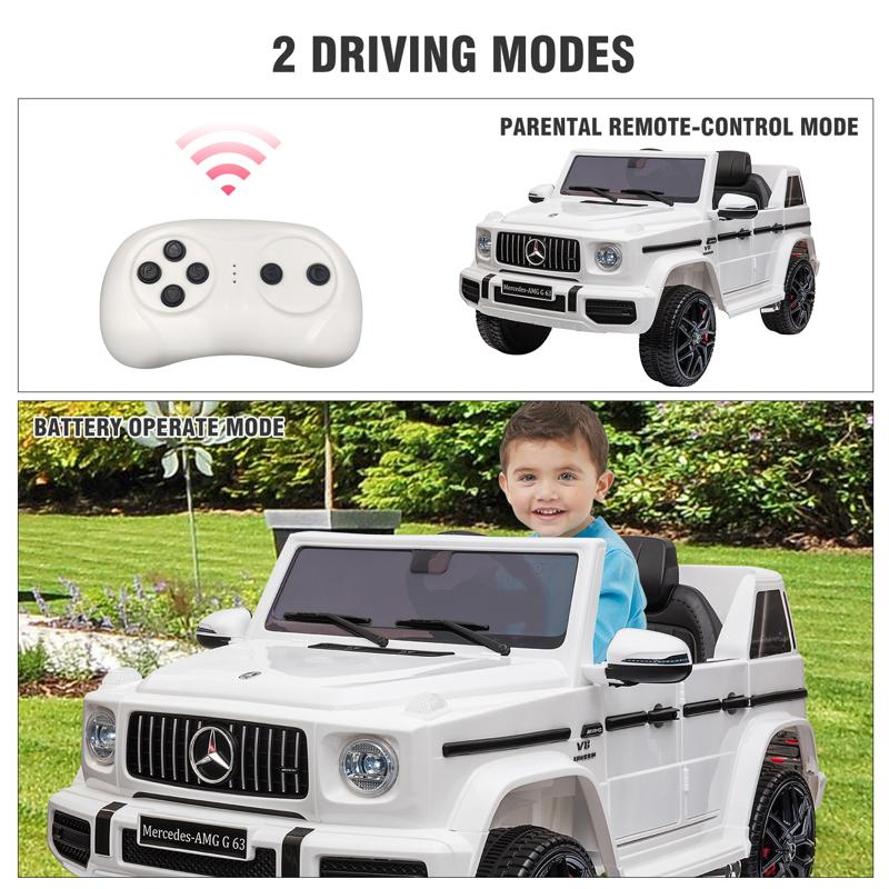 12V Mercedes Benz Ride on Car with Remote Control, White mercedes benz licensed amg g63 12v kids ride on cars white 40 1