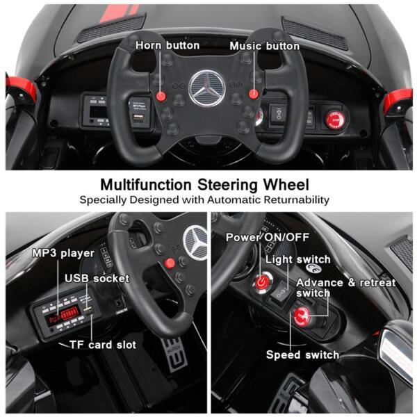 Mercedes Benz Licensed AMG GT 12V Ride On Car for Kids, Black mercedes benz licensed amg gt 12v ride on car for kids black 38 1
