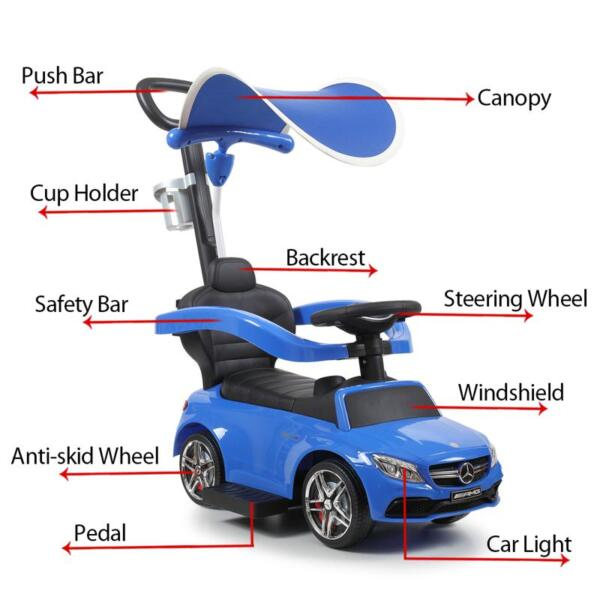 Mercedes Benz Push Car For Toddlers With Canopy, Blue mercedes benz licensed kids ride on push car blue 12