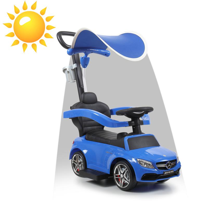 Mercedes Benz Push Car For Toddlers With Canopy, Blue mercedes benz licensed kids ride on push car blue 13 1