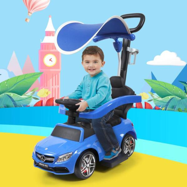 Mercedes Benz Push Car For Toddlers With Canopy, Blue mercedes benz licensed kids ride on push car blue 17
