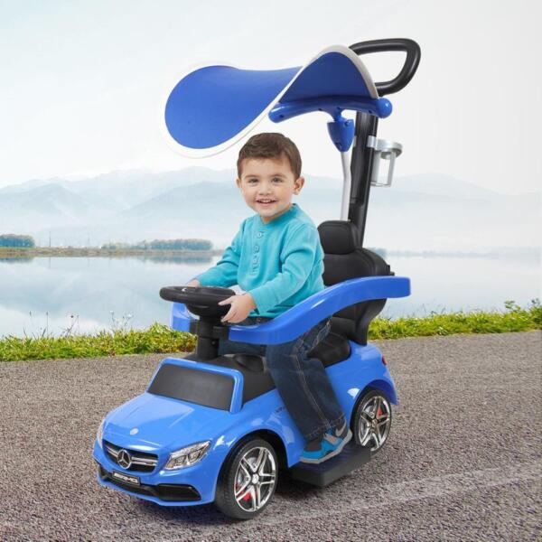 Mercedes Benz Push Car For Toddlers With Canopy, Blue mercedes benz licensed kids ride on push car blue 19