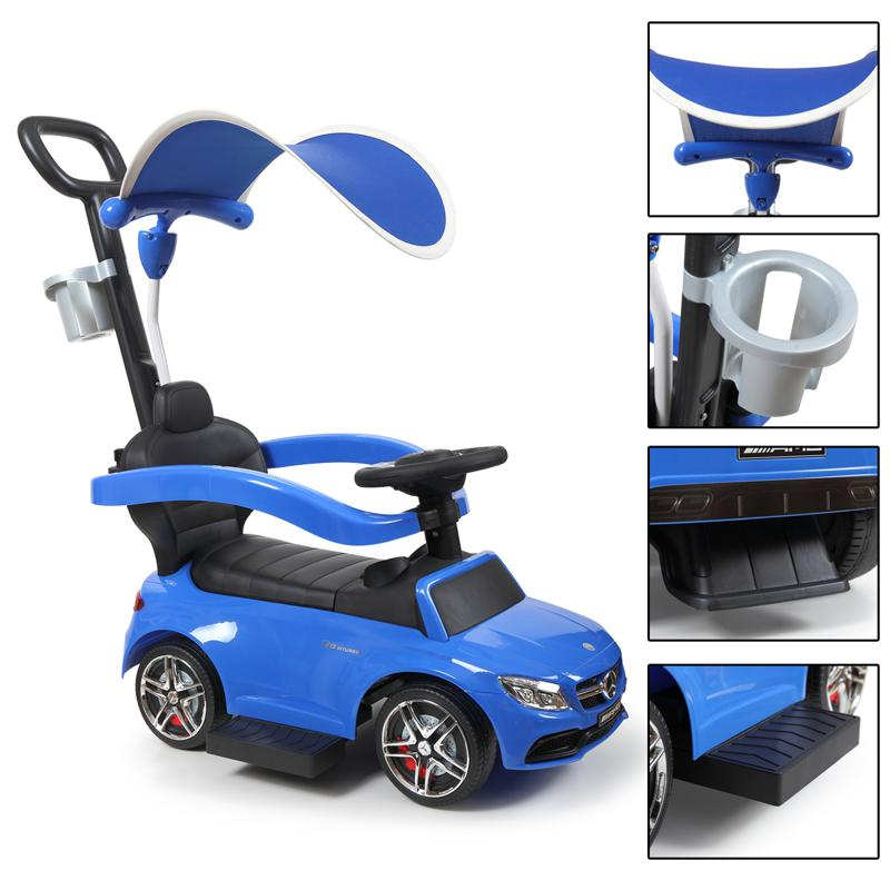Mercedes Benz Push Car For Toddlers With Canopy, Blue mercedes benz licensed kids ride on push car blue 20 3