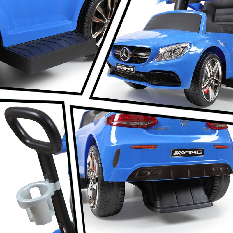 Mercedes Benz Push Car For Toddlers With Canopy, Blue mercedes benz licensed kids ride on push car blue 22 2