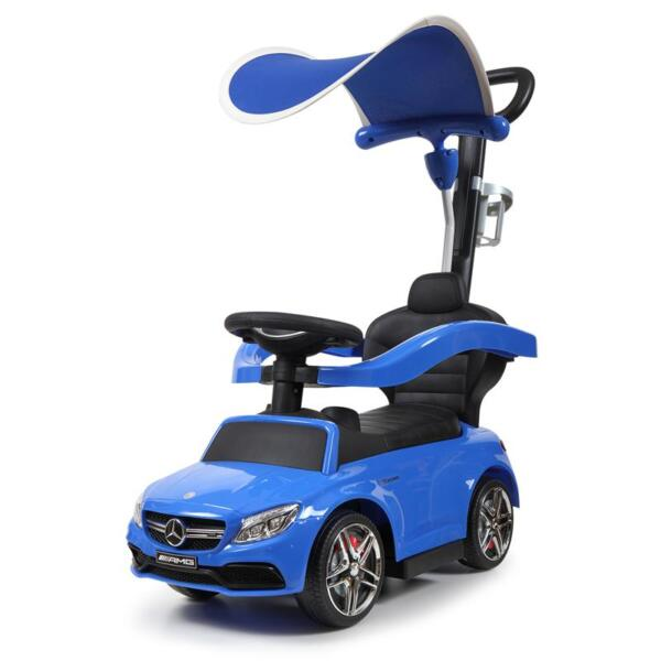 Mercedes Benz Push Car For Toddlers With Canopy, Blue mercedes benz licensed kids ride on push car blue 7