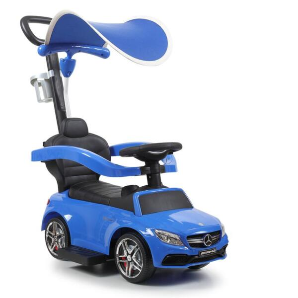 Mercedes Benz Push Car For Toddlers With Canopy, Blue mercedes benz licensed kids ride on push car blue 8