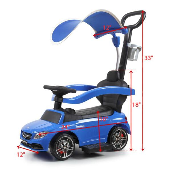 Mercedes Benz Push Car For Toddlers With Canopy, Blue mercedes benz licensed kids ride on push car blue 9 1