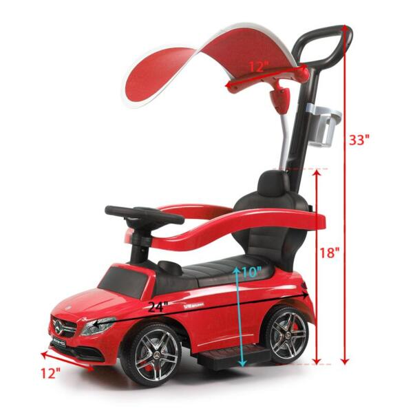 Mercedes Benz Push Car For Toddlers With Canopy, Red mercedes benz licensed kids ride on push car red 10 1