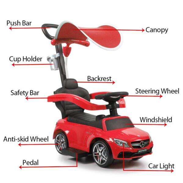 Mercedes Benz Push Car For Toddlers With Canopy, Red mercedes benz licensed kids ride on push car red 13