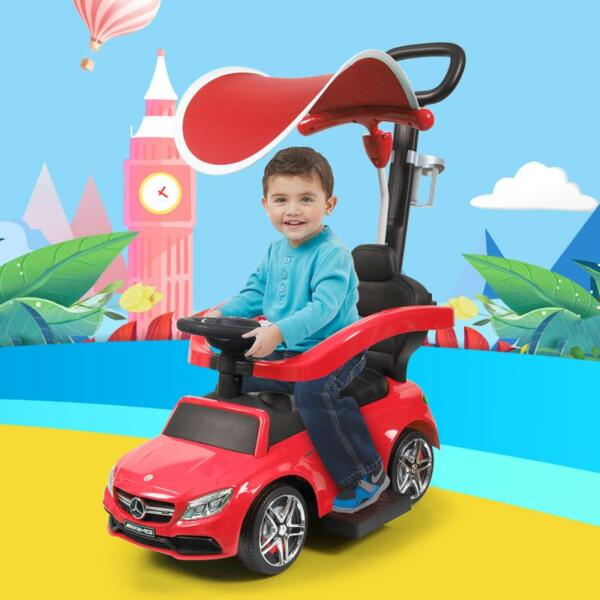 Mercedes Benz Push Car For Toddlers With Canopy, Red mercedes benz licensed kids ride on push car red 19
