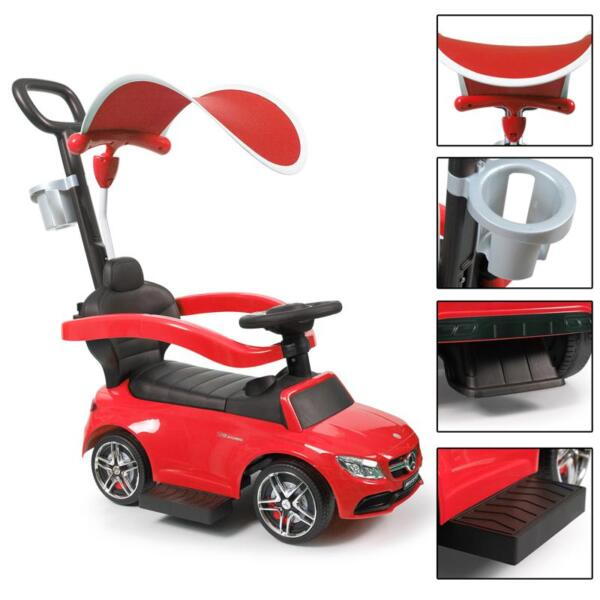 Mercedes Benz Push Car For Toddlers With Canopy, Red mercedes benz licensed kids ride on push car red 22 1