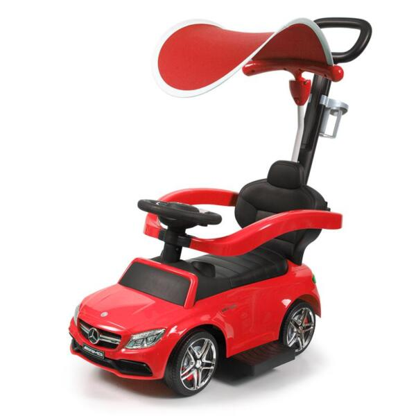 Mercedes Benz Push Car For Toddlers With Canopy, Red mercedes benz licensed kids ride on push car red 3