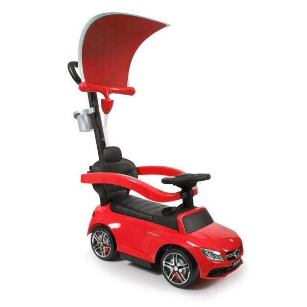 Mercedes Benz Push Car For Toddlers With Canopy, Red mercedes benz licensed kids ride on push car red 6