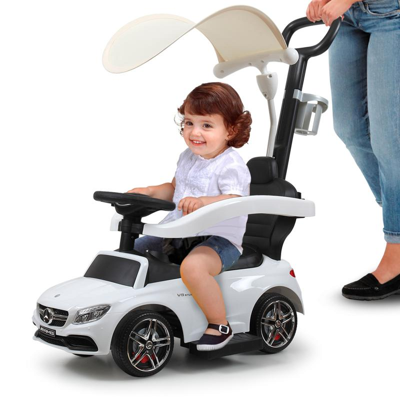 Mercedes Benz Push Car For Toddlers With Canopy, White mercedes benz licensed kids ride on push car white 12 1