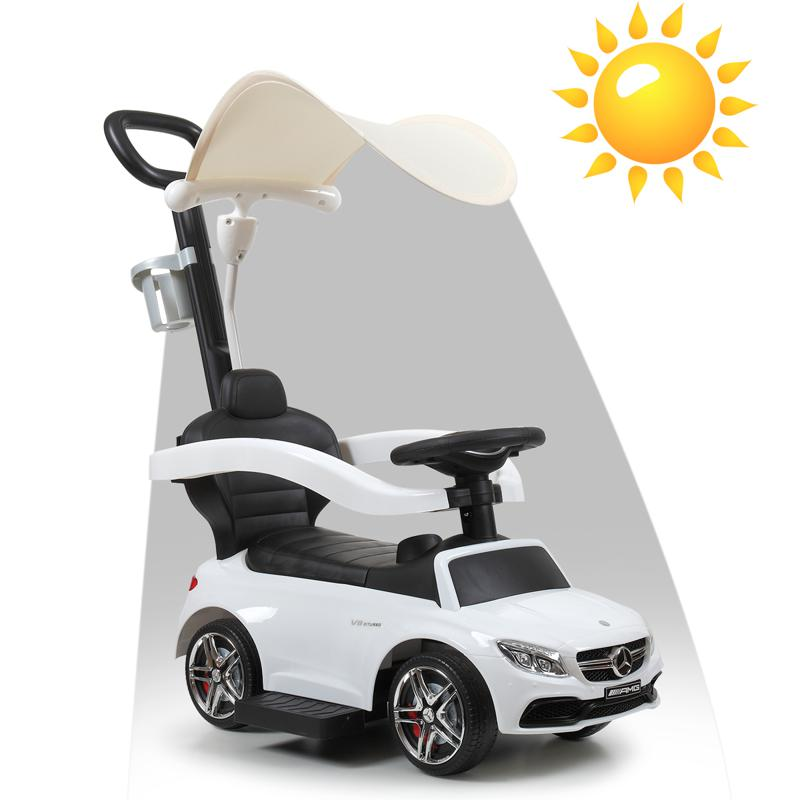 Mercedes Benz Push Car For Toddlers With Canopy, White mercedes benz licensed kids ride on push car white 14 1
