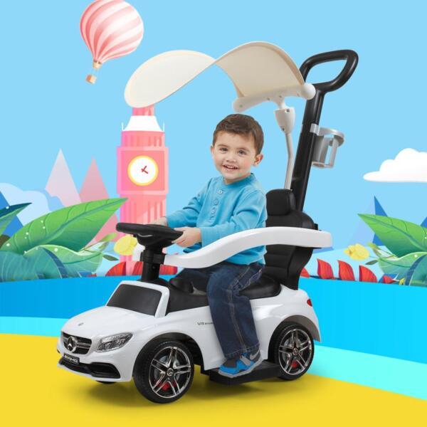 Mercedes Benz Licensed Kids Ride-on Push Car, White mercedes benz licensed kids ride on push car white 15