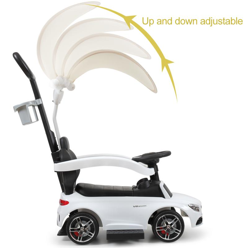 Mercedes Benz Push Car For Toddlers With Canopy, White mercedes benz licensed kids ride on push car white 19 1