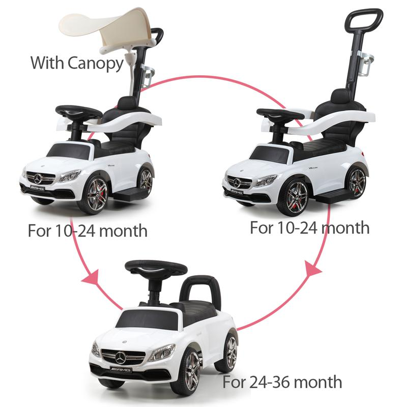 Mercedes Benz Push Car For Toddlers With Canopy, White mercedes benz licensed kids ride on push car white 23 1
