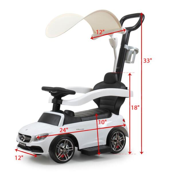 Mercedes Benz Licensed Kids Ride-on Push Car, White mercedes benz licensed kids ride on push car white 8